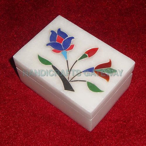 Beautiful Natural White Marble Inlay Box