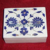 Decorative Marble With Lapis Lazuli Stone Flower Inlay Design Jewelry Boxes