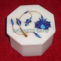 Makrana Marble Inlay Round Shape Jewelry Boxes