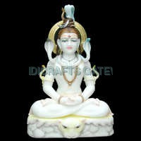 Antique White Marble Lord Shiva Sculpture