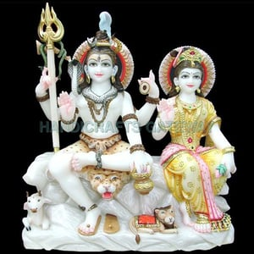 Exclusive Pure Marble Shiv Parwati Statue