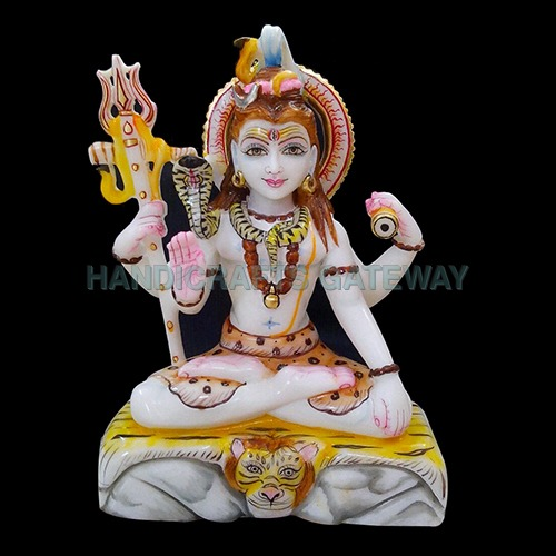Handmade Multicolor Marble Lord God Shiv Moorti