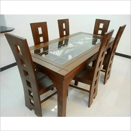 Wooden Glass Top Dinning Table
