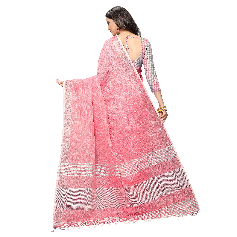 Silver Linen Saree