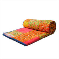 Traditional Printed Cotton Double Bed Quilt