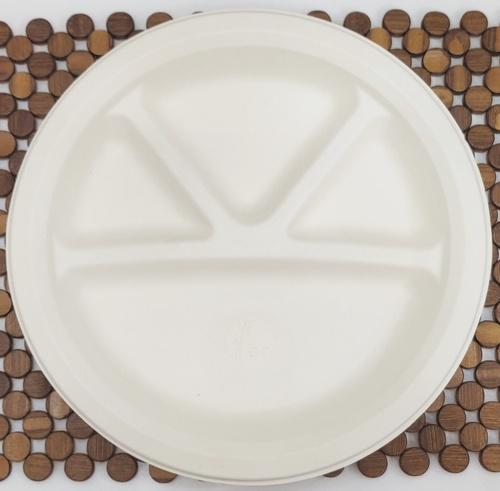 Biodegradable 12'' 4cp Meal Plate