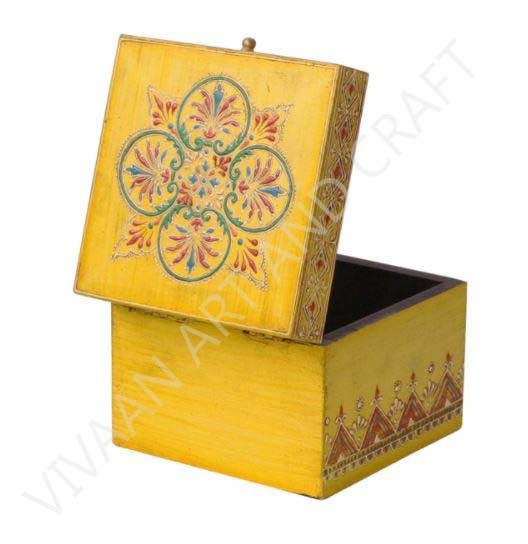 Wooden Jewelry Box Hand Made Small Yellow