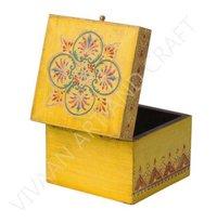 Wooden Handicraft Jewelry Box Hand Made Small Yellow