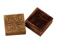 Wooden Handicraft Small Jewelry Box Brass Fitting Top Square Shape
