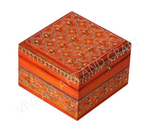 Small wooden Jewelry box Hand Made Orange Square shape