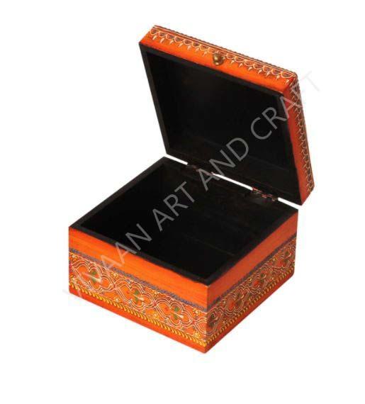Small wooden Jewelry box Hand Made Orange Square shape