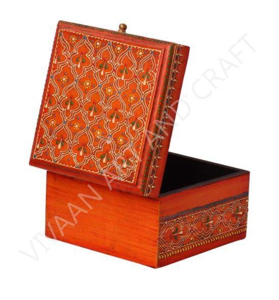 Wooden Handicraft Small  Jewelry Box Hand Made Orange Square Shape