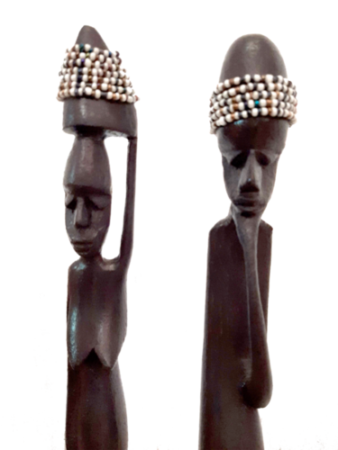 Wooden African Masai Beaded Couple