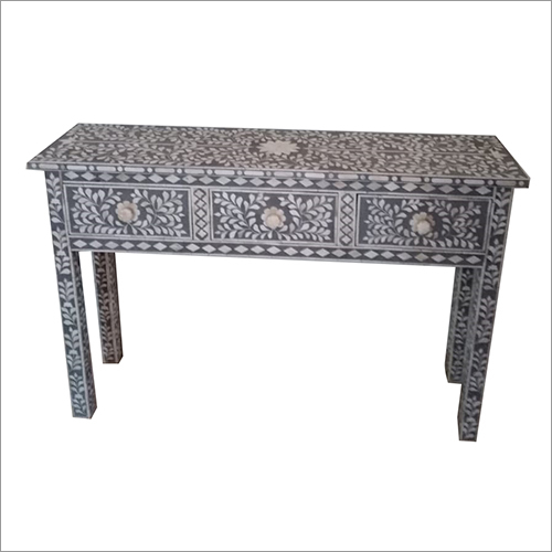Bone Inlay Table with 3 Drawer