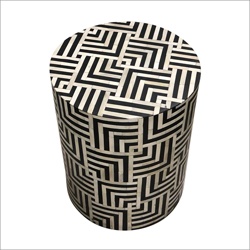 Bone Inlay Round Stool