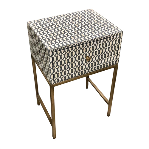 Bone Inlay Stool with Brass Fitted