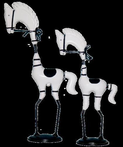 Wooden White Horse Pair