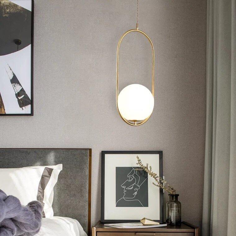 Post Modern Oval Shape Glass Pendant Lamp,with E27 Bulb, 3 Colour (Warm White+Natural White+ Cold White)
