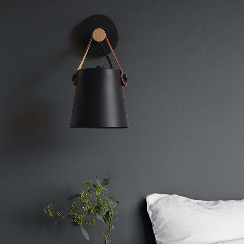Black Leather Decorative Wall Lamp (Warm White)