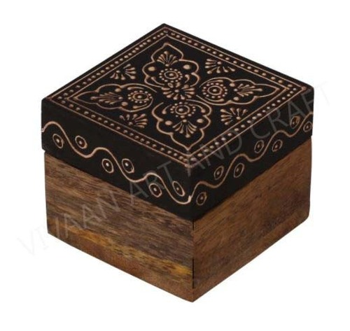 Wooden Handicraft Small Wooden Jewelry Box  Black