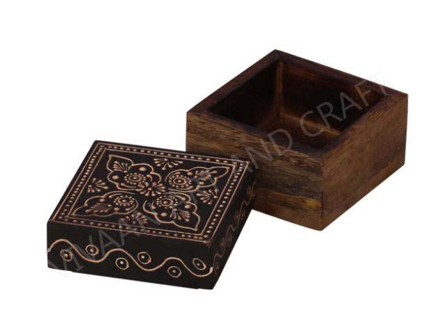Wooden Handicraft Small Wooden Jewelry Box  Black