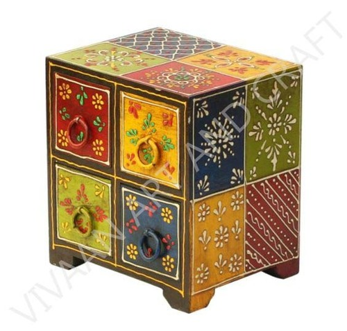Small wooden Jewelry box 4 Drawers Multicolor
