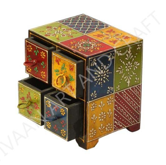 Wooden Handicraft Small Wooden Jewelry Box 4 Drawers Multicolor