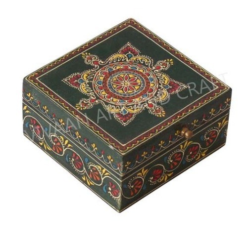 Small wooden Jewelry box Artistic Painting Square shape Small