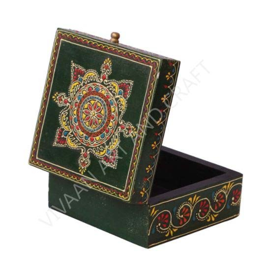 Wooden Handicraft Small Jewelry Box Artistic Painting Square Shape Small