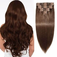 !!! UNIQUE !!! BROWN CLIP ON HUMAN HAIR EXTENSIONS !!!