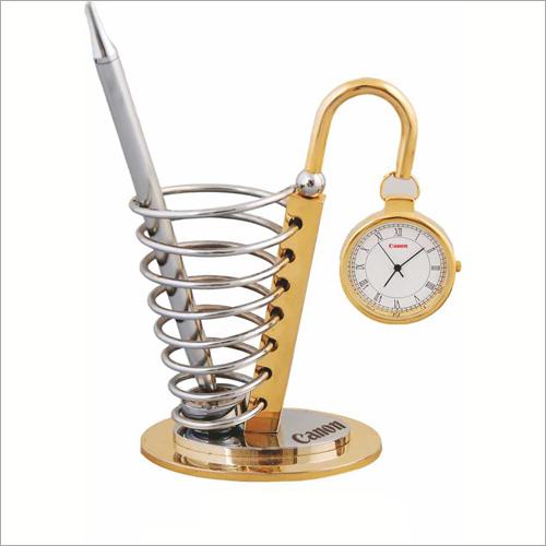BTC-322 Pen Stand With Clock Desktop Gift