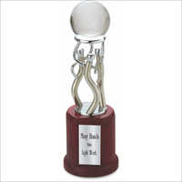 Metal Trophy With Acrylic Ball & Wooden Base
