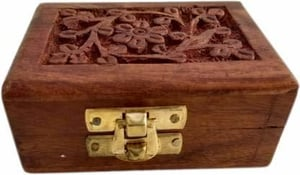 Wooden Hand Carved Jewellery Box(Small)