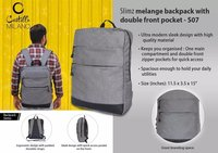 Slimz Gray Backpack With Double Front Pocket