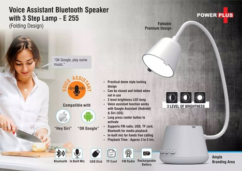 Voice Assistant Bluetooth Speaker With 3 Step Lamp (Folding Design)