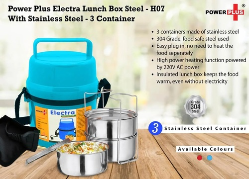 Power Plus Electra Lunch Box Steel 3 Container