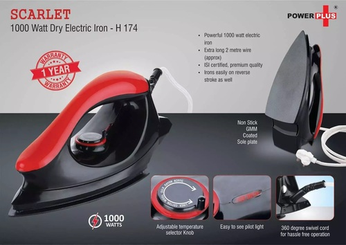 Scarlet: 1000 Watt Dry Electric Iron