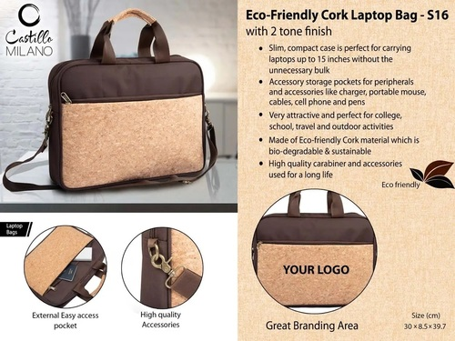 Eco-Friendly Cork Laptop Bag With 2 Tone Finish