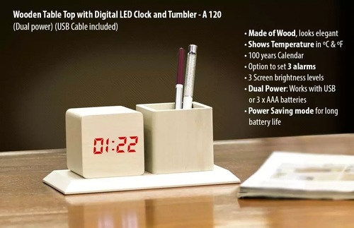 Wooden Tabletop With Digital Led Clock