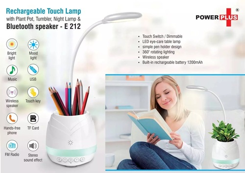 Rechargeable Touch Lamp With Bluetooth Speaker, Plant Pot, Tumbler And Night Lamp