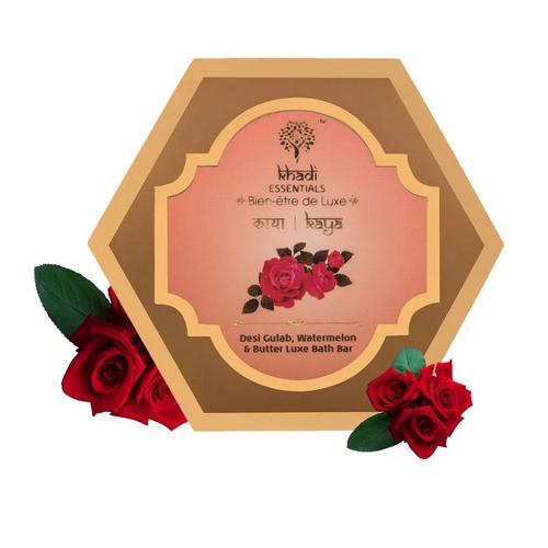 KAYA Pure Rose, Watermelon & Butter Gentle Exfoliation Handmade Natural Loofah Soap