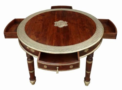 Wooden Brass Fitted round table with drawer