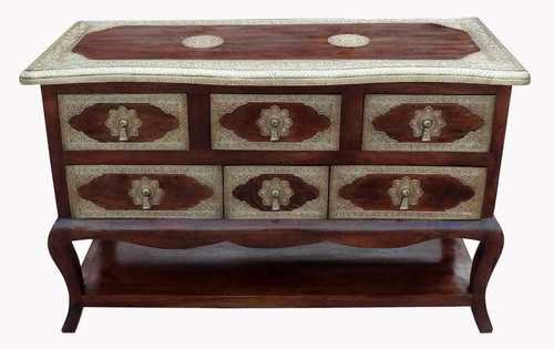Wooden Brass Fitted chest of drawer