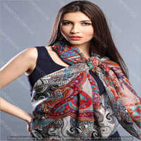 High Fashion Designer Ladies Digital Printed Wool Silk Scarves