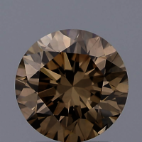 1.55ct Lab Grown Diamond Cvd Yellow Brown Si1 Round Brilliant Cut Igi Crtified