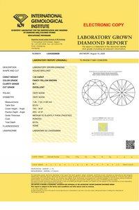 1.55ct Lab Grown Diamond Cvd Yellow Brown Si1 Round Brilliant Cut Igi Crtified