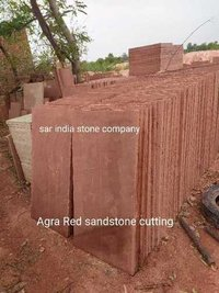 Agra red sandstone cutting