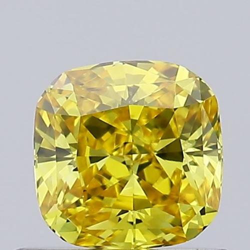 0.55ct Lab Grown Diamond CVD Vivid Yellow VVS2 Cushion Cut IGI Crtified