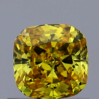 0.55ct Lab Grown Diamond CVD Vivid Yellow VVS2 Cushion Cut IGI Crtified