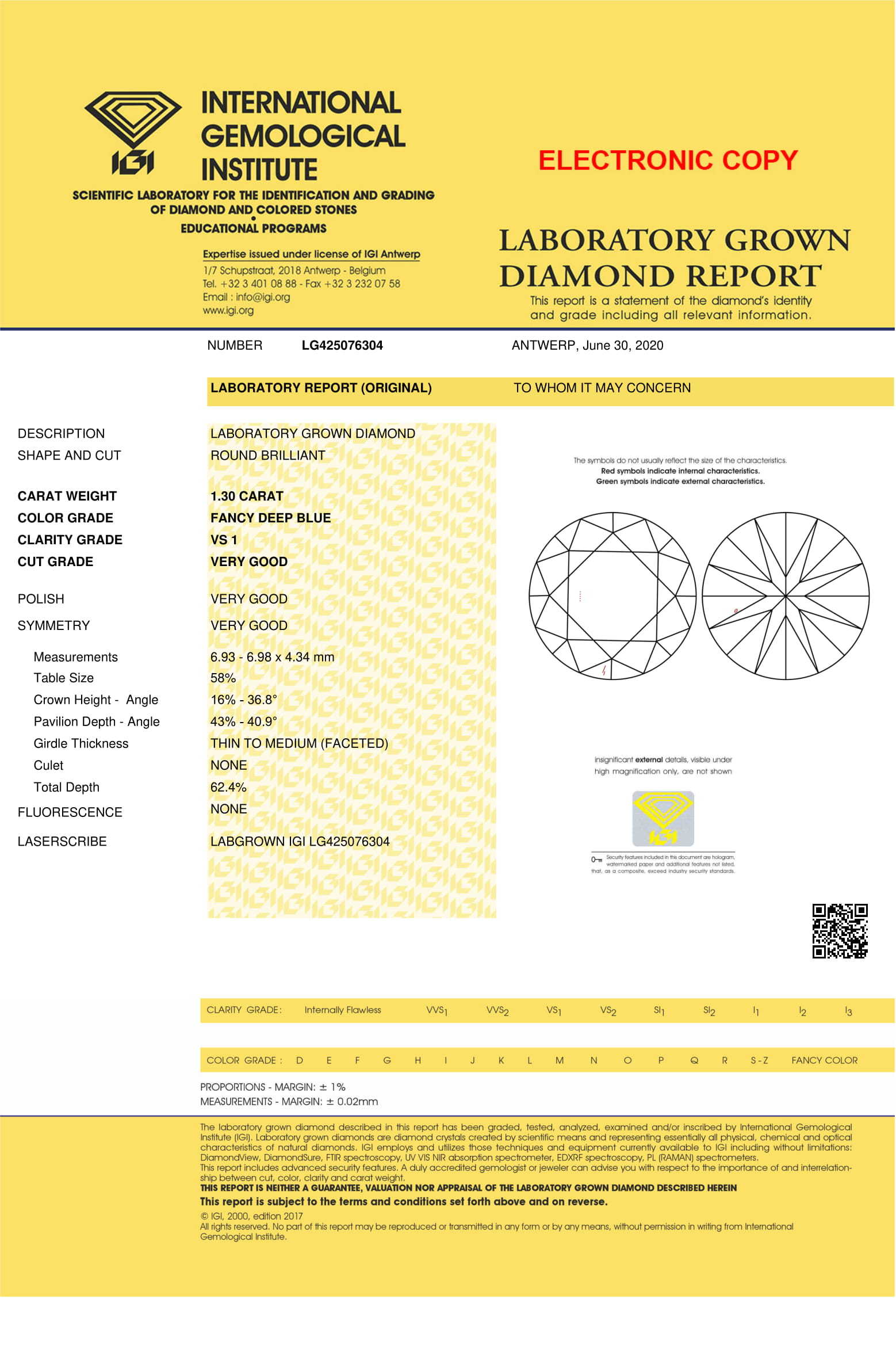 Blue Color 1.30ct Lab Grown Diamond CVD VS1 Round Brilliant Cut IGI Crtified